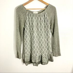 Belle France Gray Knit Sweater Lattice Detail